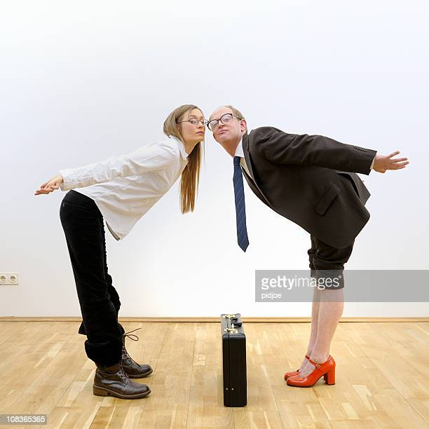 business team almost kissing