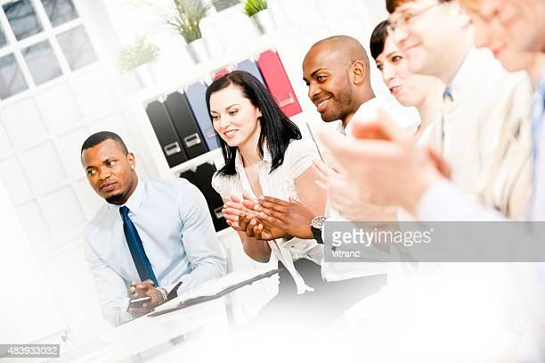 Business team applauding