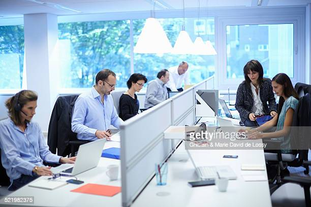 Business team at their desks in busy office