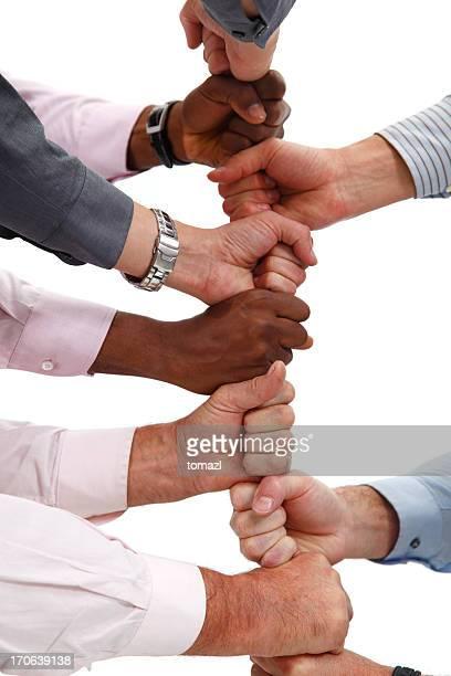 Business-team-building mit Fäuste