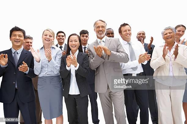Business team congratulating