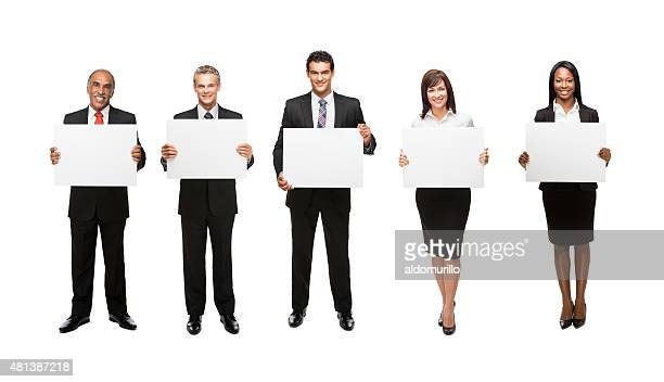 Business team holding placards