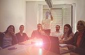 Business team in meeting room watching video presentation