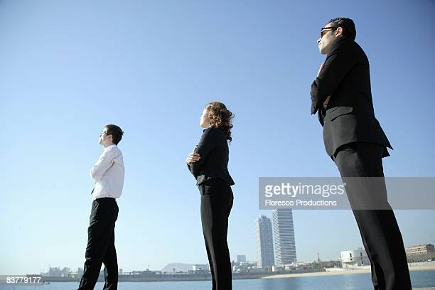 Business team looking towards horizon