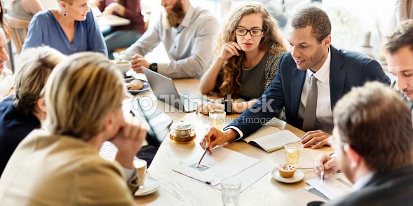 Business Team Meeting Strategy Marketing Cafe Concept