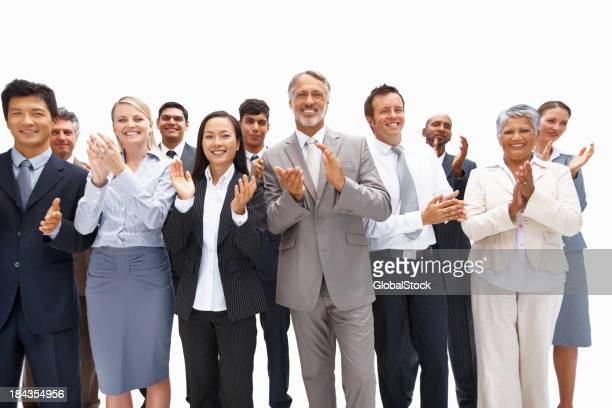 A business team of all people congratulating