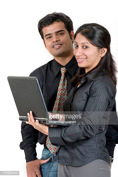 Business Team Two Indian Asian Male Female Adult Laptop Vertical