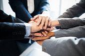 business teamwork group putting their hands together, business concept, teamwork concept