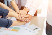 Business teamwork groups people hands, Friends with stacked huddle together, showing unity and teamwork.