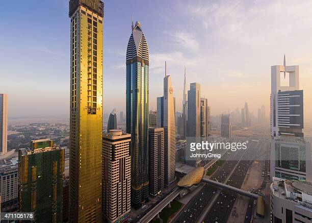 Business towers along Sheikh Zayed Road Dubai