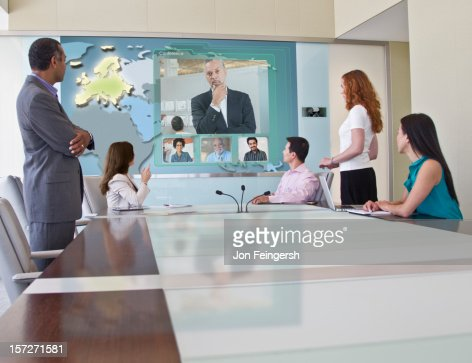Business Video Conference Meeting : Stock Photo