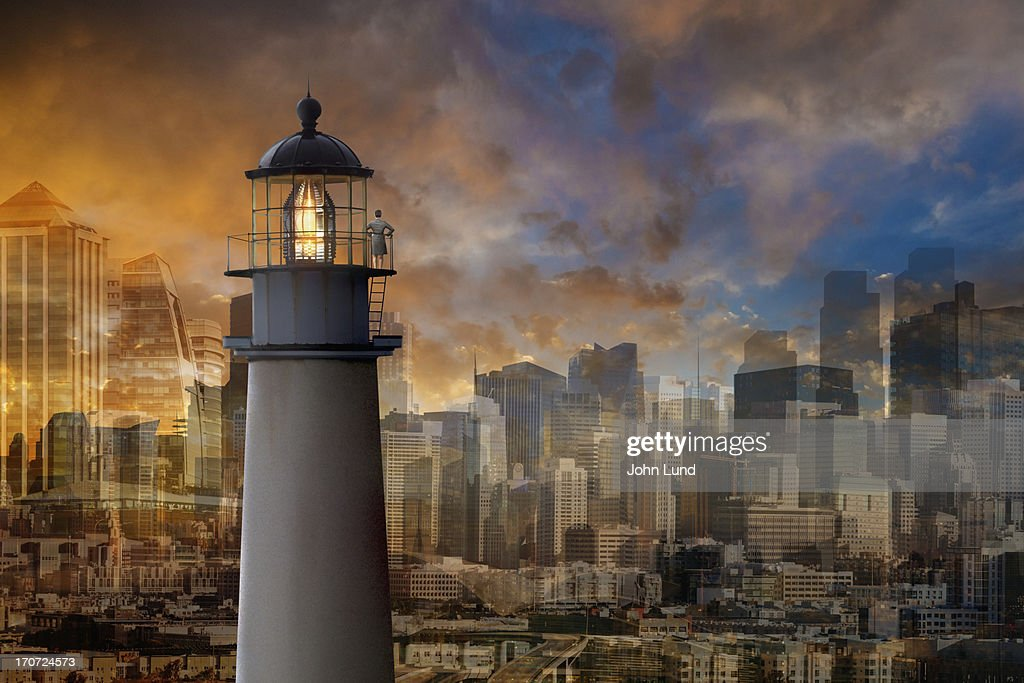 Business Vision And An Urban Lighthouse : Stock Photo