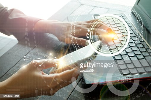 business with laptop connection technology interface : Stock Photo