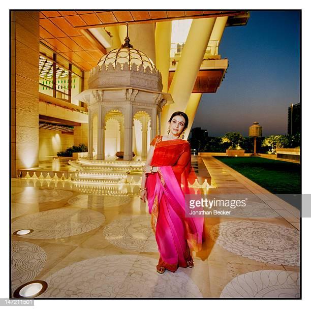 Business woman and founder/chairperson of Dhirubhai Ambani International School Nita Ambani is photographed in her for Vanity Fair Magazine on...