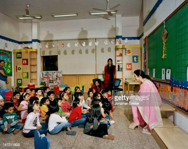 Business woman and founder/chairperson of Dhirubhai Ambani International School Nita Ambani is photographed at the school for Vanity Fair Magazine on...
