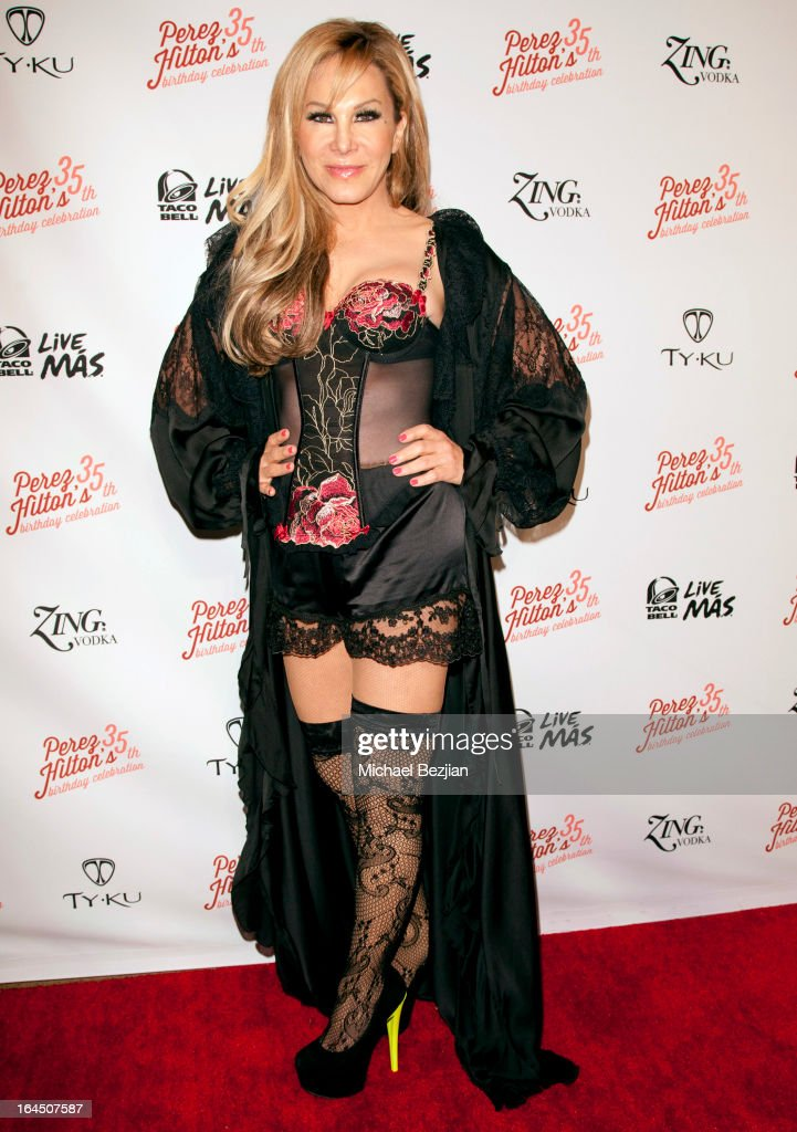 Business woman and TV personality Adrienne Maloof arrives at El Rey Theatre on March 23, 2013 in Los Angeles, California.