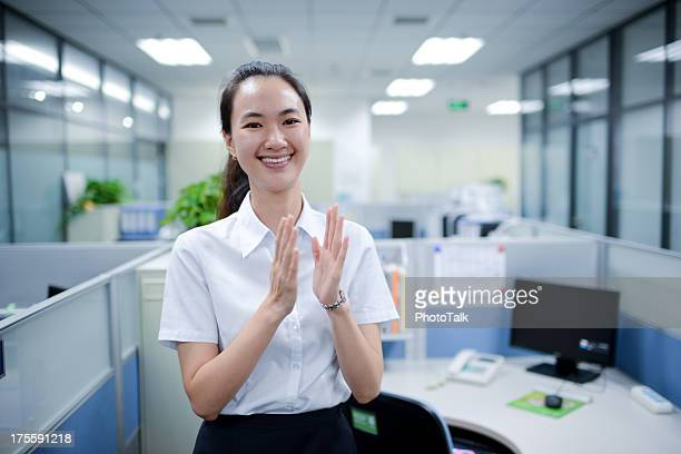 Business Woman Applauding for Congratulation - XXXXXLarge