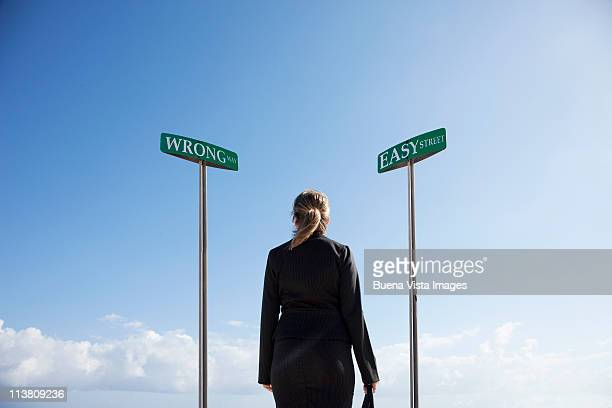 Business woman at a crossing