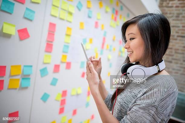 Business woman brainstorming
