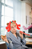 business woman celebrating Christmas