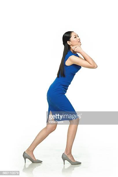 A business woman do weight-bearing activities