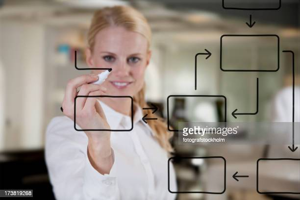 Business woman drawing a diagram
