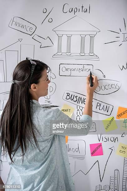 Business woman drawing a wall chart