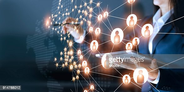 Business woman drawing global structure networking and data exchanges customer connection on dark background : Stock Photo