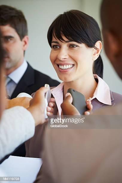 Business woman giving a speech