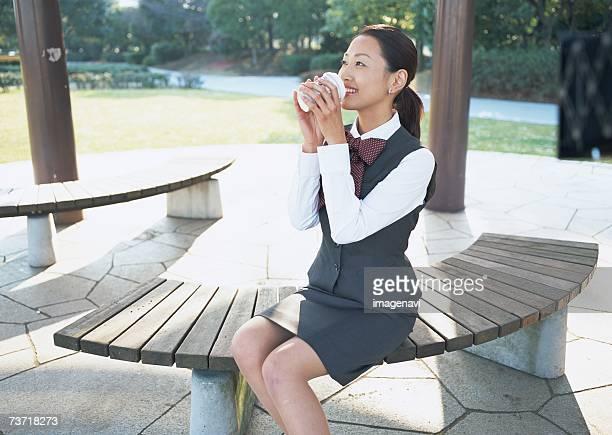 Business woman having coffee break