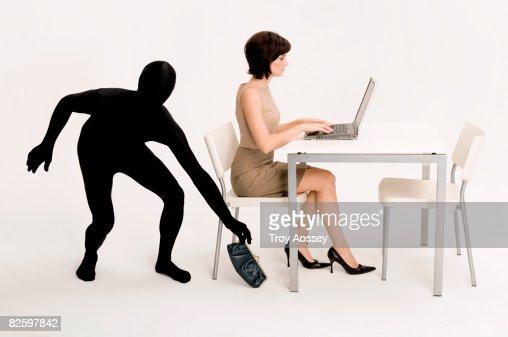 business woman having her identity stolen. : Stock Photo