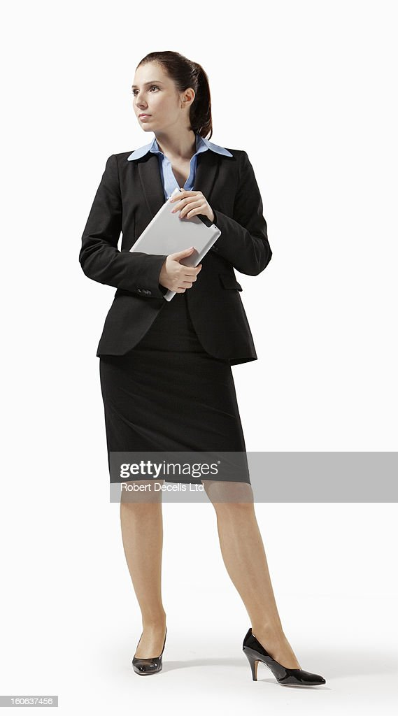 Business woman holding tablet : Stock Photo