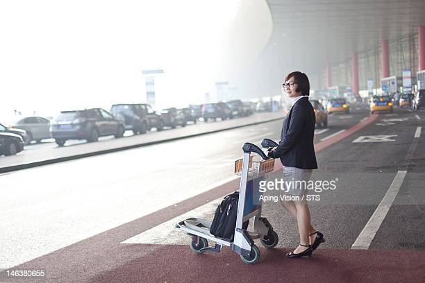 business woman in airport