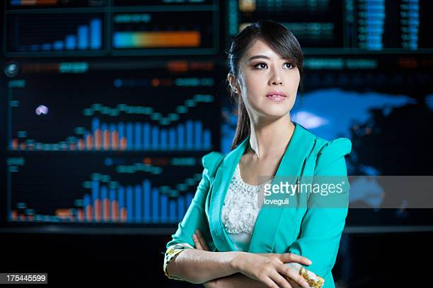 business woman in data center