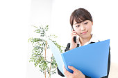 business woman informing boss