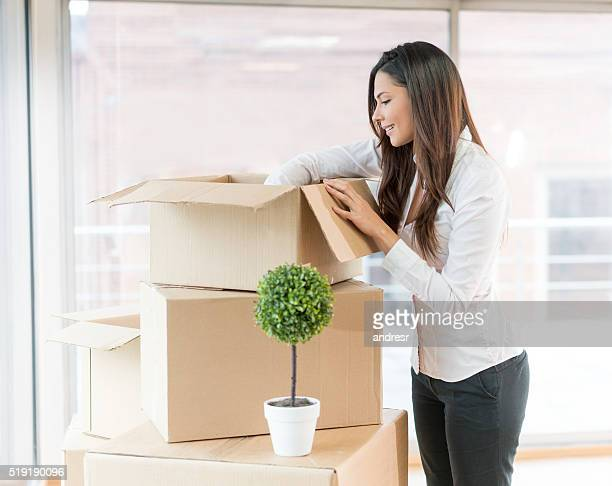 Business woman moving to a new office