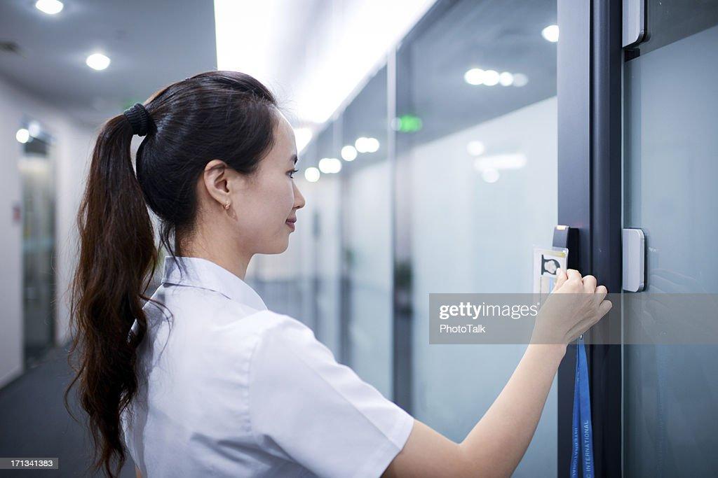 Business Woman Open The Office Door - XXXXXLarge