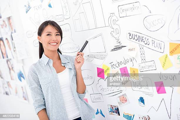 Business woman pointing at a wall chart