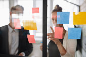 Two business colleagues working on project together. Business woman pointing at sticky note to male colleague on glass wall in office.