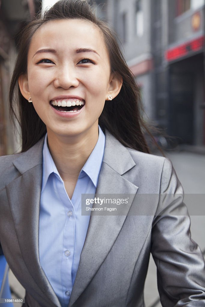 Business Woman Portrait in Houhai, Beijing, China : Stock Photo