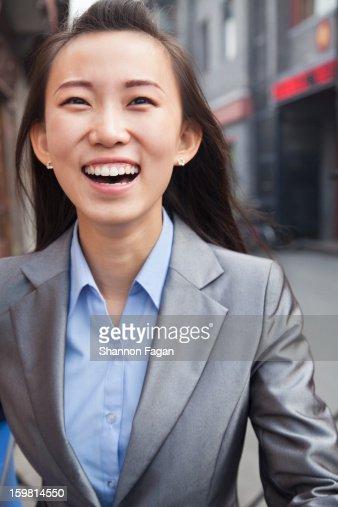 Business Woman Portrait in Houhai, Beijing, China : Stock Photo