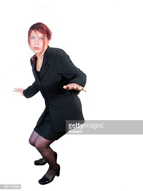 Business woman posed for surfing