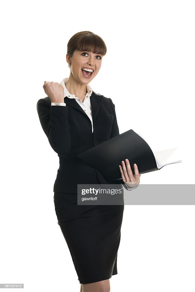 business woman rejoicing success : Stock Photo