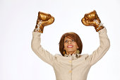 Business woman showing victory