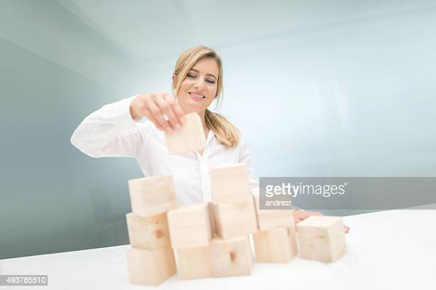 Business woman solving a problem