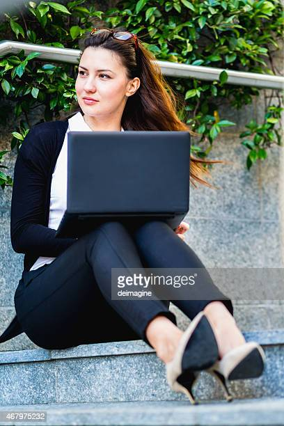 Business woman surfing the internet
