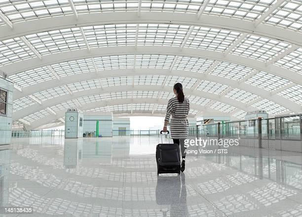 business woman travel in airport