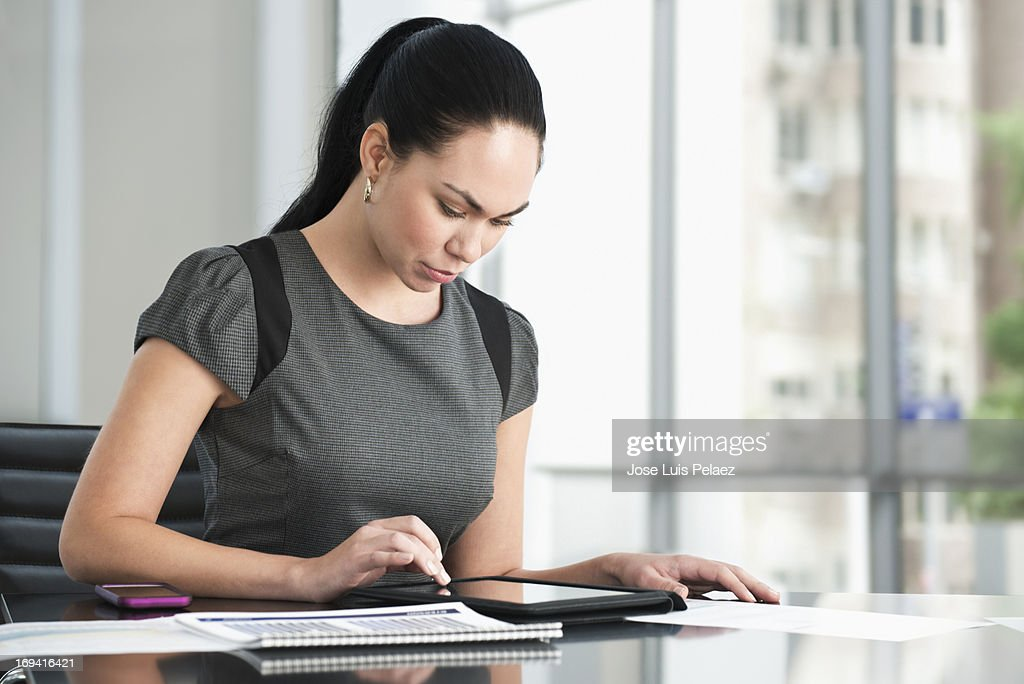 business woman using a tablet : Stock Photo