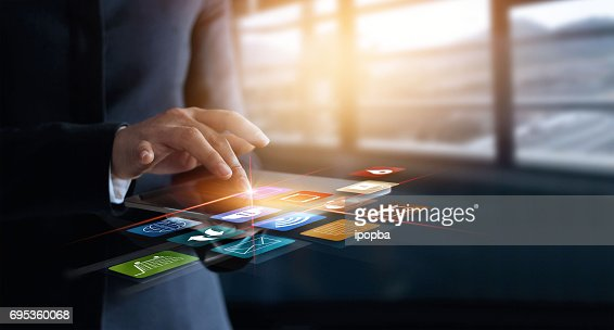 business woman using mobile payments online shopping and icon customer network connection on virtual screen, m-banking and omni channel : Foto de stock