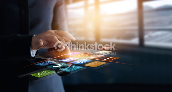 business woman using mobile payments online shopping and icon customer network connection on virtual screen, m-banking and omni channel : Stock Photo